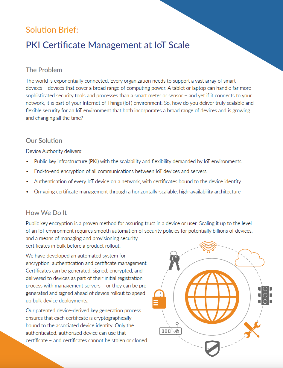 Solution Brief Pki Certificate Management At Iot Scale